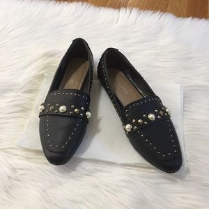 Boohoo Pearl Studded Slip On Loafers.